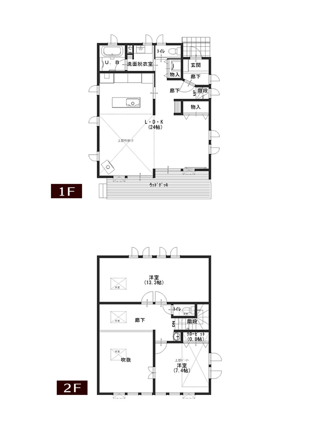 間取図1階+2階